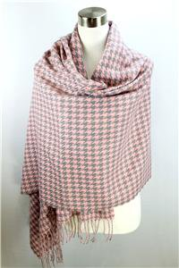 CLASSIC Warm Pink Gray Houndstooth CASHMERE TOUCH 100% Acrylic Scarf Wrap Shawl