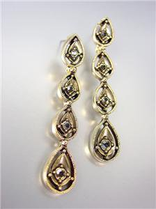 VICTORIAN Antique 18kt Gold Plated Marcasite Crystals Chandelier Dangle Earrings