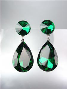 GLITZY Emerald Green Czech Crystals Bridal Queen Pageant Prom Earrings