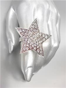 SHIMMERY SPARKLE Clear Crystals Silver STAR Cocktail Ring