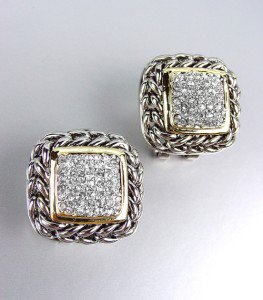 Designer Style Balinese Silver Wheat Chains Gold Pav'e CZ Crystals Earrings