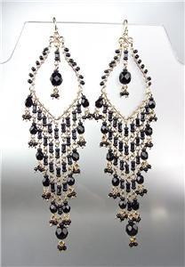 STUNNING Black Onyx Crystal Beads Gold Chandelier Dangle Peruvian Earrings 12BK