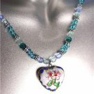DECORATIVE White Blue Multi Cloisonne Enamel Floral Heart Pendant Necklace