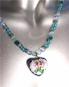 DECORATIVE White Blue Multi Cloisonne Enamel Floral Heart Pendant Necklace
