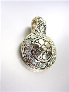 GORGEOUS Designer Style BALINESE Silver Gold Dots Blue Topaz CZ Crystals Pendant