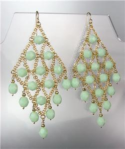 EXQUISITE Sherbert Green Aventurine Gemstone Gold Chandelier Peruvian Earrings