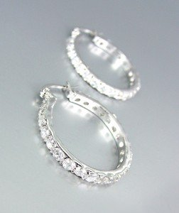 """CLASSIC Thin 18kt White Gold Plated CZ Crystals Petite 3/4"""" Hoop Earrings"""