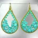 GORGEOUS Turquoise Crystals Peruvian Beads Gold Chandelier Dangle Earrings M50