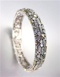 BALINESE Silver Antique Texture Gold Dots CZ Crystals Hinged Bangle Bracelet