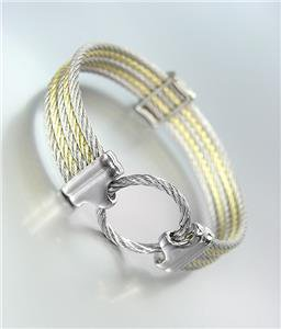 GORGEOUS Designer Style Silver Gold Cables Ring CZ Crystals Bangle Bracelet 751