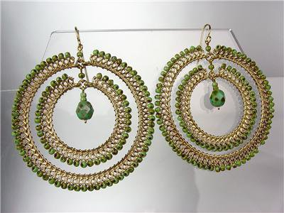 EXQUISITE Green Turquoise Beads Gold Chandelier Dangle Peruvian Earrings