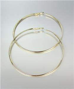 "CHIC GOLD Metal Flat Front Round Large 3 3/8"" Diameter Hoop Post Earrings"