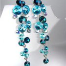 EXQUISITE Teal Blue Iridescent Czech Crystals WATERFALL Drop Earrings
