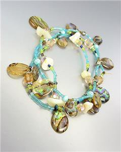 GORGEOUS Natural Shell Charms Blue Seed Beads 3 PC Stretch Bracelet