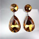 GLITZY SHIMMER Brown Topaz Czech Crystals Bridal Queen Pageant Prom Earrings