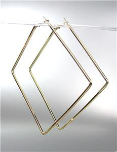 CHIC Basketball Wives Style Thin GOLD Metal LARGE Square Hoop Post Earrings