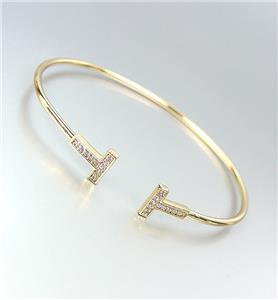 LUXURIOUS Thin Dainty 18kt Gold Plated CZ Crystals Cuff Bracelet