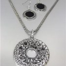 VINTAGE Antique Silver Texture Marcasite Crystals Medallion Mesh Necklace Set