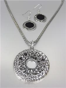 VINTAGE Antique Silver Texture Marcasite Crystals Medallion Mesh Necklace Set