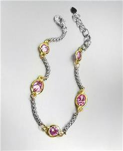 GORGEOUS Designer Style Silver Box Chain Cable Pink Rose CZ Crystals Bracelet