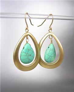 FABULOUS Turquoise Stone Mat Gold Tear Drop Dangle Earrings