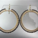 CHIC Black Onyx Peruvian Beads Gold Plated Wire Chandelier Earrings GB78