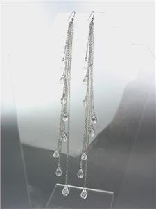 CHIC Long Drippy Multi Silver Chains Acrylic Crystals Shoulder Duster Earrings