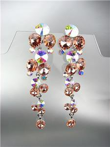 EXQUISITE Peach Iridescent Czech Crystals WATERFALL Bridal Prom Pageant Earrings