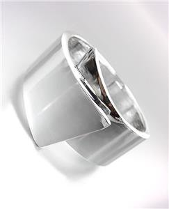 CHIC & MODERN Sculpted Smooth Silver Metal Hinged Bangle Bracelet