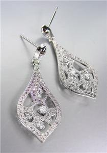 LUXURIOUS 18kt White Gold Plated CZ Crystals Chandelier Dangle Earrings