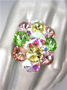 GLITZY Multi Iridescent AB Czech Crystals Oval Cluster Large Cocktail Ring