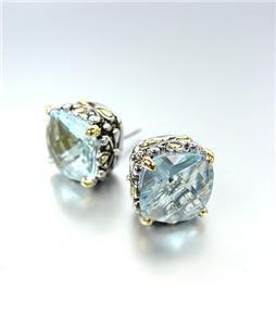 Designer PETITE Silver Gold Balinese Filigree Aqua Blue CZ Crystal Earrings