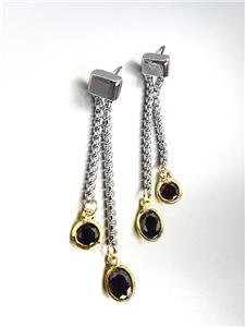 GORGEOUS Silver Box Cable Chain Gold Black Onyx Crystals Dangle Earrings