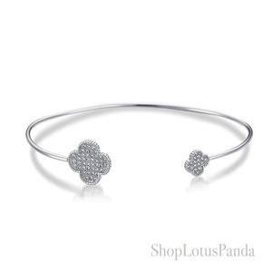 GORGEOUS 18kt White Gold Plated Pave CZ Crystals Clover Thin Cuff Bracelet