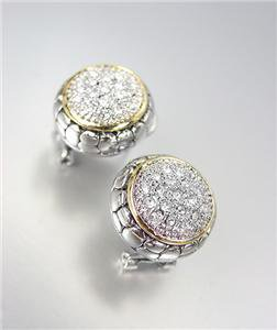 CLASSIC Designer Style Balinese Silver Dots Texture Gold CZ Crystals Earrings