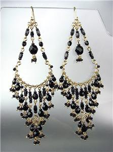 STUNNING Black Onyx Crystal Beads Gold Chandelier Dangle Peruvian Earrings 10-14