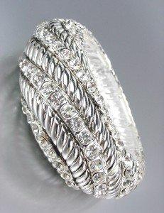 Designer Style Chunky Silver Cables CZ Crystals Stretch Bangle Bracelet