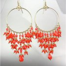 GORGEOUS Coral Red Crystals Peruvian Beads Gold Chandelier Dangle Earrings