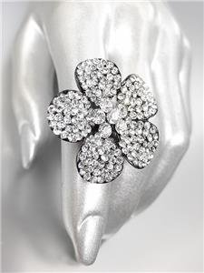SHIMMERY SPARKLE Clear Crystals Black Metal Flower Cocktail Ring
