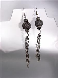 CHIC Antique Metal Mesh Bead Czech Crystals Tassel Long Earrings