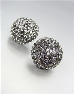 EXQUISITE Smoky Gray Pave CZ Crystals Button Stud Earrings Prom Pageant Bridal