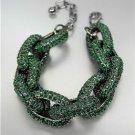 STUNNING Chunky Designer Emerald Green CZ Crystals Encrusted Chain Bracelet