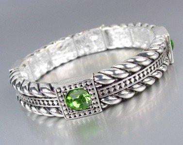 Designer Style Silver Cables Green Crystals Stretch Bracelet