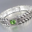 Designer Style Silver Cables Green Crystals Stretch Bracelet
