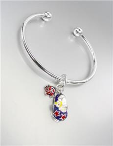 ADORABLE Blue Multi Lacquer Enamel Baby Shoe Ladybug Charm Silver Cuff Bracelet