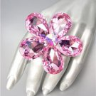 STUNNING Chunky Pink Czech Crystals Floral DIVA Queen Cocktail Ring