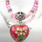 Vintage Pink Floral Cloisonne Enamel Heart Charm Beads Stretch Bracelet