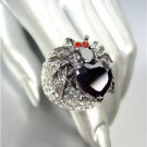 CHUNKY 18kt White Gold Plated Black Widow Spider Black CZ Crystals Cocktail Ring
