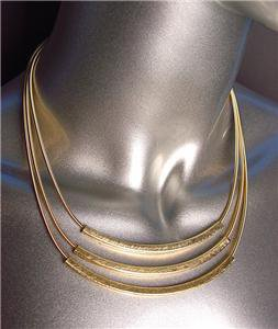 GORGEOUS 3 Tier Burnished Gold Metal Bars 3 Strands Spring Mesh Chains Necklace
