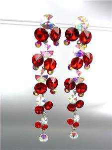 STUNNING Ruby Red Iridescent Czech Crystals WATERFALL Dangle Earrings